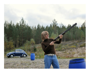 FIG. 019KI (TM)                                   Father and son clay pigeon shooting day Särkikangas sandpit.                   Year: 1975 (2015)                        Location: Vilppula