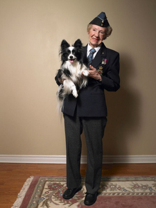 * Ruth May Kells, Radio Operator for Canadian Air Forces During World War II, With Her Dog Robbie/Dartmouth, Nova Scotia/September 2011