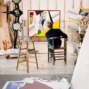 Roy with Reflections on the Prom, 1990, from the series Inside Roy Lichtenstein's Studio © Laurie Lambrecht, 19901992