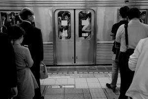 Peak hour in the Tokyo metro