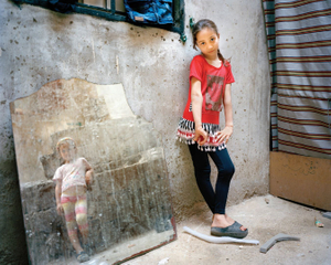 Amal 9, Zahra 5 (girl in the mirror), Beirut 2014