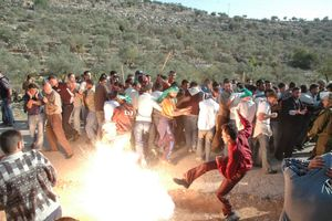 Palestinian activists react to a stun granade thrown by Israeli soldiers (not seen) during a protest against the Separation Wall in the West Bank village of Abud, 2006.