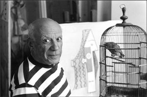 Pablo Picasso, Villa La Californie, Cannes, 1957. Picasso's atelier was relatively open to outsiders which allowed Burri to take his photographs freely. © René Burri / Magnum Photos