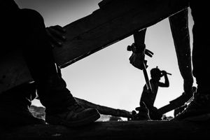 Workers rebuilding houses in Barpak, Gorkha District, in the epicenter of the 2015 earthquake which almost destroyed the entire village.