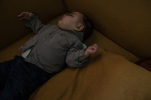 Casablanca, March 2015. One of the children sleeping during a birthday party at the Ngo.The activities promoted in favor of single mothers begin within hospitals, where the Ngo's social workers go to sensitize women on the importance of going to the civil registry office to enroll their children, of whom, otherwise there would not be any trace.