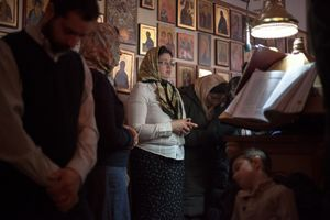 Members of the choir of the Romanian Orthodox Church in southeast Rome.
