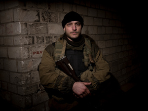 Gabriele Carugati, an Italian volunteer who fights for the separatists in Donetsk. He threatened the Italian journalist Roberta Zunini.