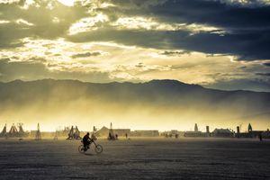 Solo biker at sunset