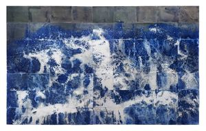 "Littoral Drift Nearshore #209 (Springridge Road, Bainbridge Island, WA 02.12.15, Fletcher Bay Water Poured and Fletcher Bay and Fay Bainbridge Silt Scattered)133x216"", Unique Cyanotype"