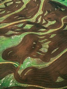 "Plough patterns near Toodyay, Western Australia, Australia. The plough manoeuvred between rocks leaving a pattern against the new green grass, from the series ""Abstract Earth"" © Richard Woldendorp"