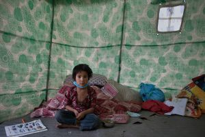 Parvati (7 years) lives in a makeshift camp who have lost her father in the eartquake at Katmanmdu, Nepal, 7 May 2015