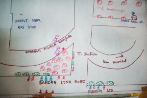 These drawings are taped to the walls in one of The Humsafar Trust's community offices.  Many of the hijras who work in the community offices are illiterate so the staff have drawn illustrated maps to help the hijra when they distribute condoms.  The small red figures represent transgender sex workers. The small blue figures represent customers.  © Alison McCauley