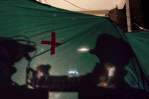 First aid street hospital (Ukraine, Kiev, February, 2014)