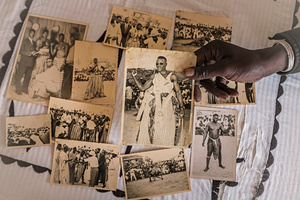 April 9 2015. The photographer Freekis Ndoye from Dakar shows historical pictures of wrestlers from the 50's. Wrestling matches have a long tradition in Senegal. Almost every village in the countryside organizes regular tournaments. The first wrestler in Senegambia was called Boukar Djilak Faye, he lived in the 14th century in the kingdom Sine.