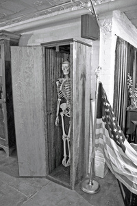 Skeleton in closet, museum, Cherokee (IA) Mental Health Institute.