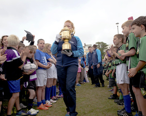 Arrival of the Rugby World Cup, Exmouth seafront