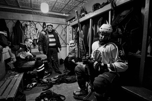 Players in the locker room of HC Vetluga at halftime, Vetluga, Russia, 19February 2015.