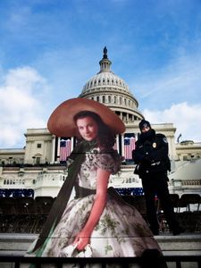 "From the series ""Scarlett America: American Wanderings of a Cardboard Stand-up"", Scarlett in Washington D.C., Presidential Inaugural, 01-20-2009"