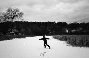 Skating at a river bayou in Autumn, Penza Oblast, 2014