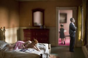 "Pink Bedroom (Family). From the series ""Hopper Meditations"" © Richard Tuschman"