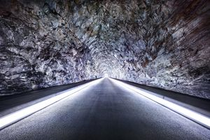 "Ferrera III Access tunnel to the central cavern. Length: 180 m / Height: 5 m, from the project ""Space and Energy"" © Luca Zanier"