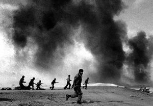 Iranian troops advancing in Bostan battle  1981 © Copyright 1979-2009 Alfred Yaghobzadeh. All rights reserved.