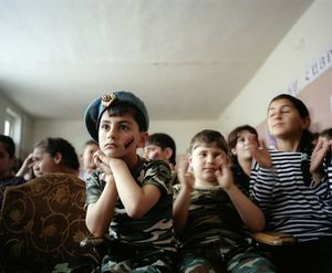 UNRECOGNIZED REPUBLIC OF NAGORNO-KARABAKH / Stepanakert / 7.5.2012. In the theater hall of school no. 10, students are listening to a presentation in view of the forthcoming great National Holiday, May 9th.