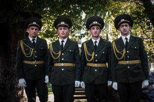 Young men dressed full dress uniform of armed forces of Abkhazia. Sukhum, the capital of Abkhazia. © Olga Ingurazova