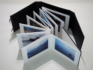 "The accordion-type first hand-made photobook ""Lost in Fukushima"" with a case called ""Chitsu"""