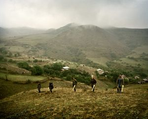UNRECOGNIZED REPUBLIC OF NAGORNO-KARABAKH / Hin Taghlar / 6.09.2011. Employees of the mine-clearing organization 'Halo Trust' are checking out a field, making a so-called BAC (Battle Area Clearance). During the time of the Karabakh war there existed an important army post near the village of Hin Taghlar which was often the target of aerial and other attacks.
