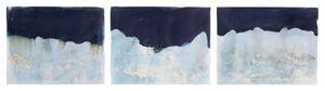 "Littoral Drift #880 (Ft. Ward, Bainbridge Island, WA 04.28.17, Three Cresting Waves)42x90"", Unique Cyanotype"