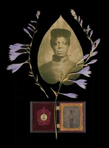 Freedom fighter. Unidentified young African-American soldier in hosta leaf with hosta blossoms and ambrotype of child cased with Abraham Lincoln campaign button.