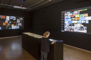 Exhibition shot. Spatial design: Studio Miessen. Graphic design: Studio Mahr Foto. Photo: Henning Rogge