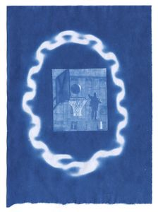 "Three Point Shot, 2014. From the series ""Cyanotypes."" Showing at Roman Road. Courtesy of PhotoLondon."
