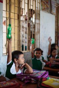 Schoolgirl in class