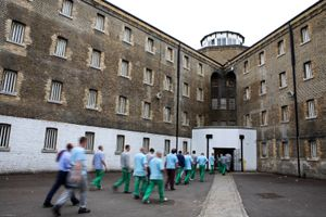 Prisoners return from their jobs to their wings for lunch at Wandsworth prison.HMP Wandsworth in South West London was built in 1851 and is one of the largest prisons in Western Europe. It has a capacity of 1456 prisoners.