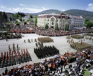 UNRECOGNIZED REPUBLIC OF NAGORNO-KARABAKH / Stepanakert / 9.05.2012. On May 9 the army of Nagorno-Karabakh presents itself to the population – the parade on Independence Square is the crowning highlight. May 9 is one of the most important national and memorial holidays in Nagorno-Karabakh.