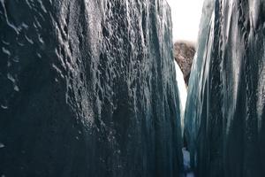 Inside and ice crack. Franz Josef Glacier, New Zealand.