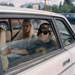 Laura and James in a friend's car outside Scott's Dairy Freeze, North Bend, Washington.