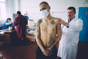 Medical check-up of a TB prisoners. Zhdanovka penal colony #3, Donbass, February 2011.
