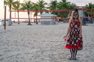 The Zombie in the Skull Dress, Higgs Beach, Key West, Florida. © Rona Chang
