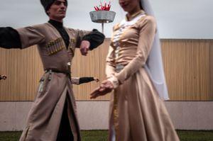 Dancers of the national dancing-troupe. Main Republican stadium. Sukhum, Abkhazia. © Olga Ingurazova
