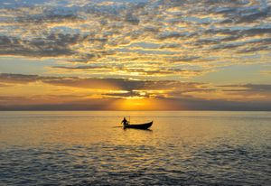Fisherman under sunset