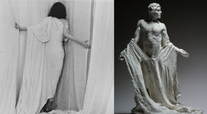(left) Patti Smith, 1979 © Robert Mapplethorpe Foundation. Used by permission. (right) Les Bourgeois de Calais: Jean de Fiennes, variante du personnage de la deuxieme maquette, torse nu, vers 1885 © Paris, musee Rodin