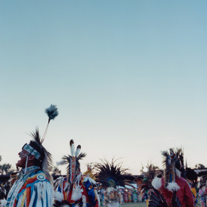 Dancers take a break in between songs and United Nation Powwow in Bismarck, North Dakota.