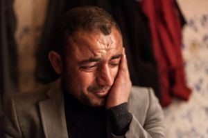 08/02/15 -- Sulaimaniyah, Iraq -- Utto 32, from Shingal, in his room at the Baghdad Hotel. His family is in Duhok. He is working in Sulaimaniyah to support his family. His mother is very sick, but he cannot afford to go see her, as he hardly can stop working on the streets where he sells cigarettes with his younger brother Khaled.