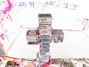 Gauchito Gil cross decorated with ex votos in the main temple of Gauchito Gil in Mercedes town, Corrientes