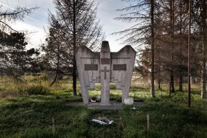 """The monument for all Serb soldiers who were killed"" was erected in 1999 on the site of the former concentration camp Trnopolje, by the local government. A culture of denial continues to shape the narrative of the so called ""Serbian defensive-liberation war"" in Prijedor. © Ole Elfenkämper"