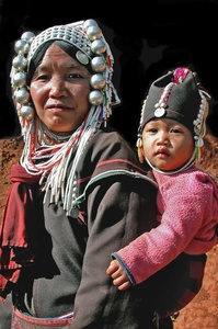 MOTHER AND BABY HILL TRIBE