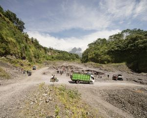 Sand mining / jeep tours in unnamed river, Yogyakarta